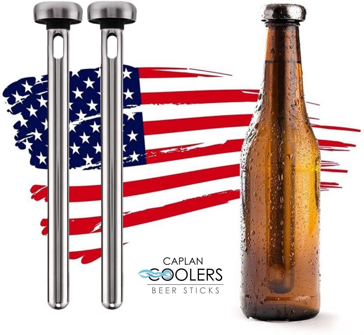 Caplan Coolers: Stainless Steel Beer Bottle Chiller Cooling Sticks (Set of 2)