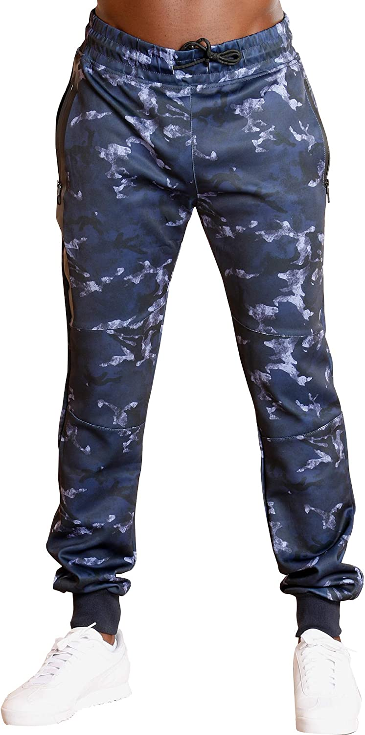 Ankor East Mens Navy CAMO Tricot Side Jogger,Navy,L