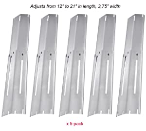 """BBQ funland Universal Adjustable Stainless Steel Heat Plate Shield, Heat Tent, Flavorizer Bar, Burner Cover, Flame Tamer Replacement for Gas Grill,Extends from 12"""" up to 21""""L (5-pack)"""