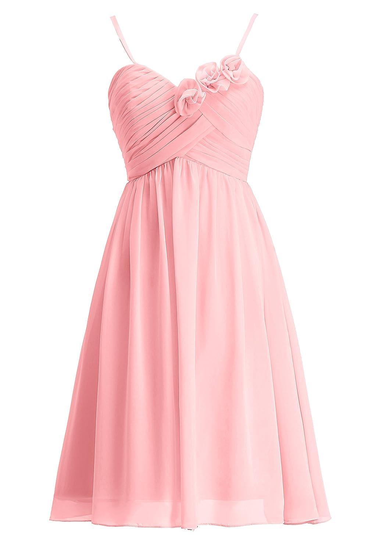 Rose taille 34 pour femme KekeHouse® Robe à Fines Bretelle Courte de Cérémonie Soirée Mariage Femme Fille Robe de Demoiselle d'honneur