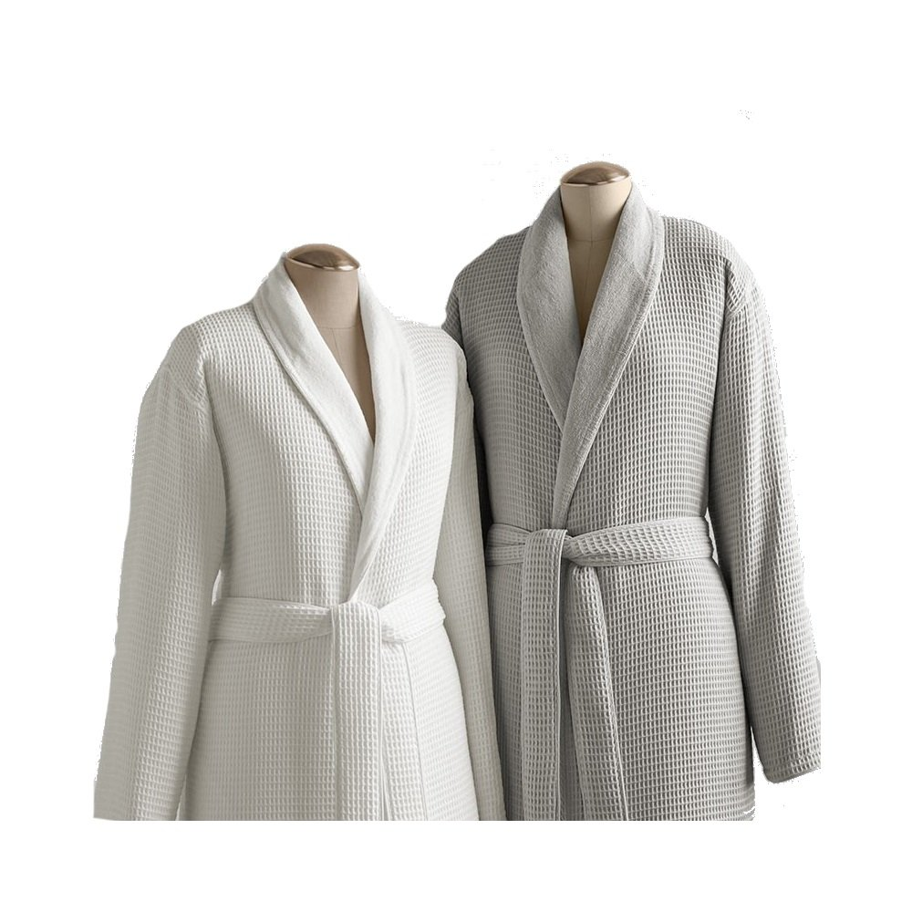 TurkishTowels Kassatex Waffle Terry Bathrobe Collection, 100% Cotton, Made In Turkey (Beige Waffle Outside, Thick Terry Inside - L/XL - Grey