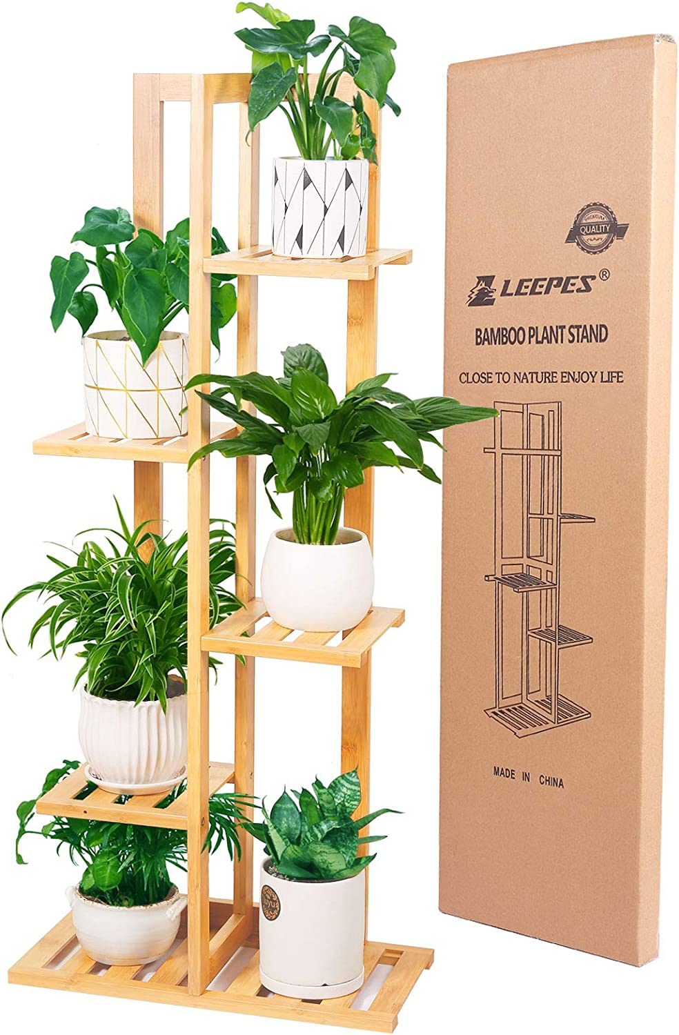 Leepes Plant Stand Rack Bamboo 5 Tier 6 Potted Indoor Outdoor Multiple Flower Pot Holder Shelf Display Shelving Unit For Patio Garden Living Room Corner Balcony Kitchen Dining