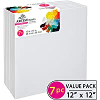 PHOENIX Pre Stretched Canvas for Painting - 12x12 Inch / 7 Pack - 5/8 Inch Profile of Super Value Pack for Acrylics, Oils & Other Painting Media