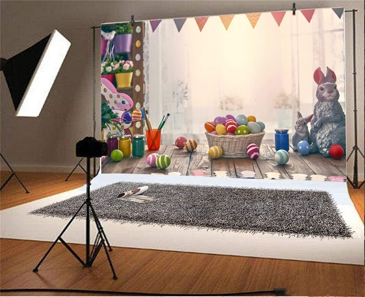 GoEoo 10x7ft Vinyl Easter Photography Background Flower Shop Wooden Table Painted Easter Eggs Pigments Grey Rabbits Backdrops Child Baby Portrairt Shoot Greeting Card Community Easter Egg Hunt