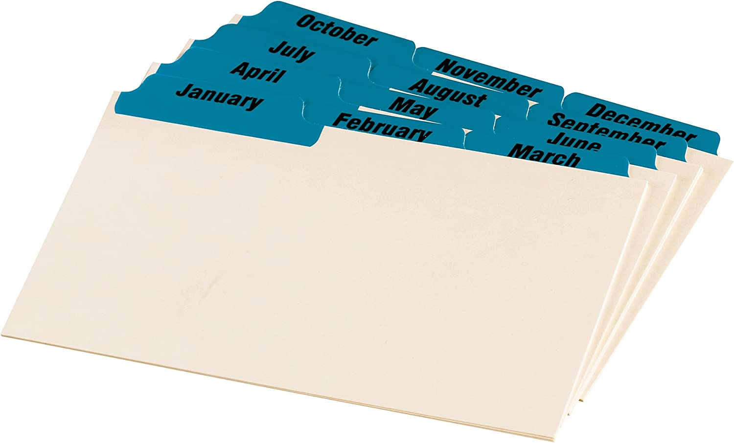 """January-December 3/"""" x 5/"""" Monthly Oxford Index Card Guides with Laminated Tabs"""