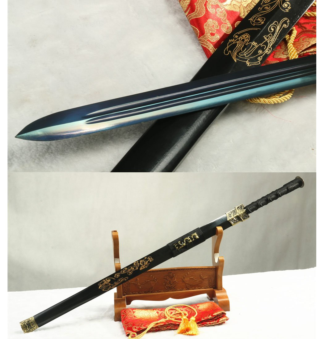 41' Blue Full Tang 1095 Carbon Steel Blade Dragon Chinese HAN Sword