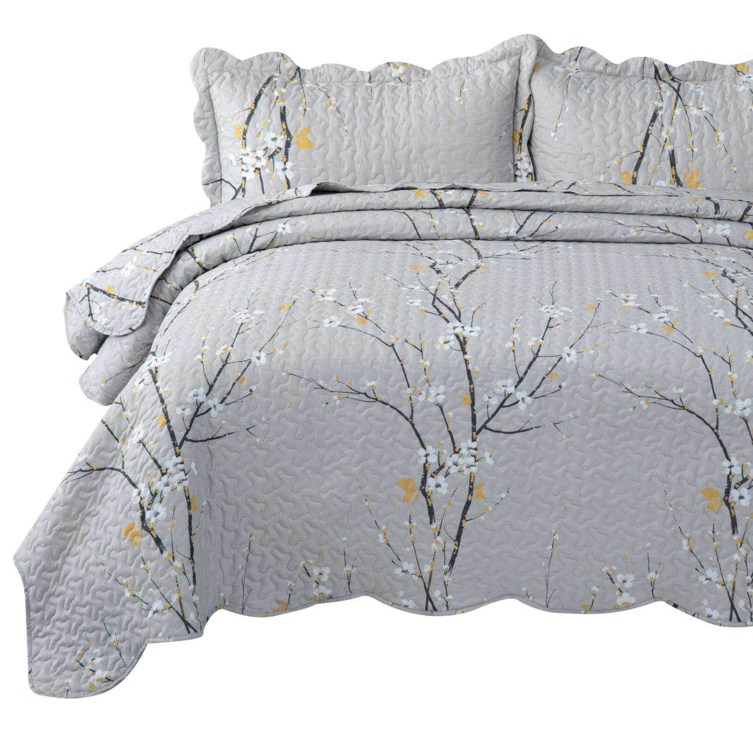 Bedsure Quilt Set Grey Full/Queen Size Plum Blossom (90x96 inches) Bedspread, Lightweight Coverlet Quilt for Spring and Summer, 1 Quilt and 2 Pillow Shams