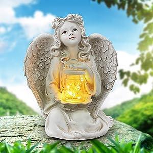 Sphinx Solar Angel Garden Statue, Guardian Angel Solar Light Figurine, Angel Decorations for Home, Garden Decor for Outside, Memorial Gifts