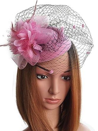 fascinator hats pillbox hat british bowler hat flower veil wedding hat tea  party hat (pink)  Amazon.in  Clothing   Accessories ff14a6181c7c