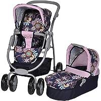 Knorrtoys.com 90778 - Coco, Passeggino trio per bambole, colore: Blu con motivo floreale