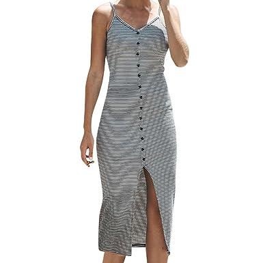 Trendy-Nicer-autumn casual women vintage dress Fashion Casual Woman Stripe Button Sleeveless Sheath