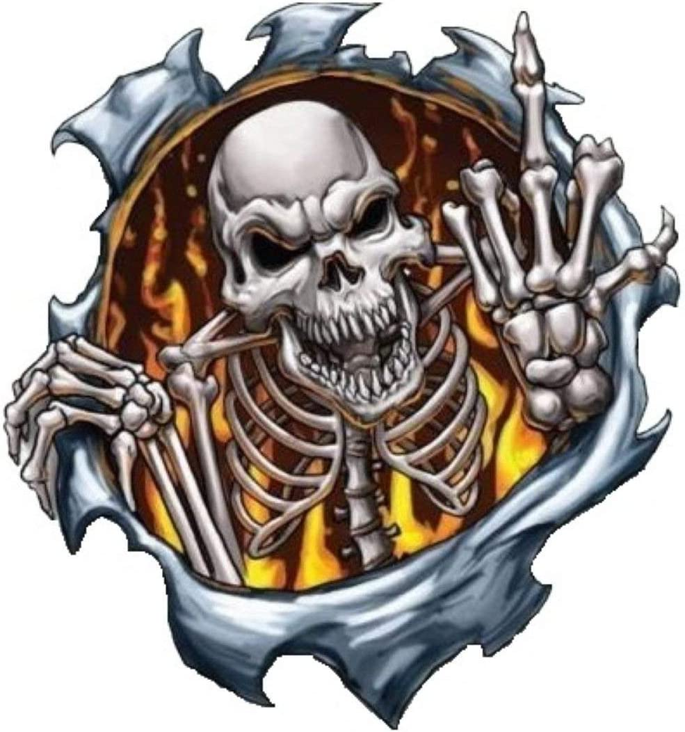 "Skeleton Middle Finger Skull  Funny Vinyl Decal Sticker Car Window bumper 7/"""