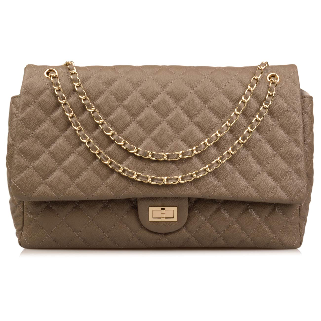 Ainifeel Women's Genuine Leather Oversize Quilted Flap Handbag Large Travelling Tote Bag Luggage Holdall (Oversize, Grey (gold hardware))