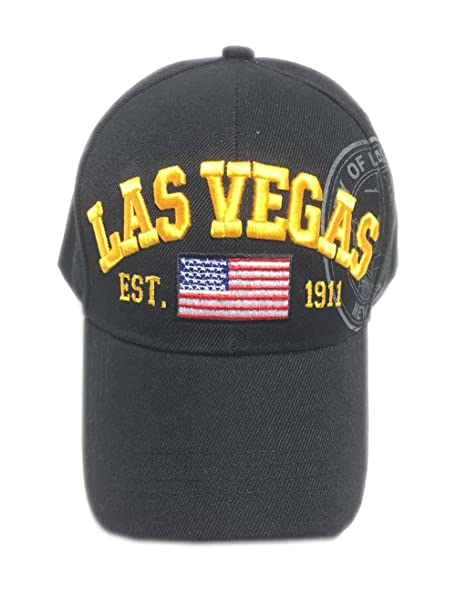 Aesthetinc Embroidered America Flag Las Vegas LV Nevada Design Baseball Cap  with Great Seal (Black 6c6db5e1bc0