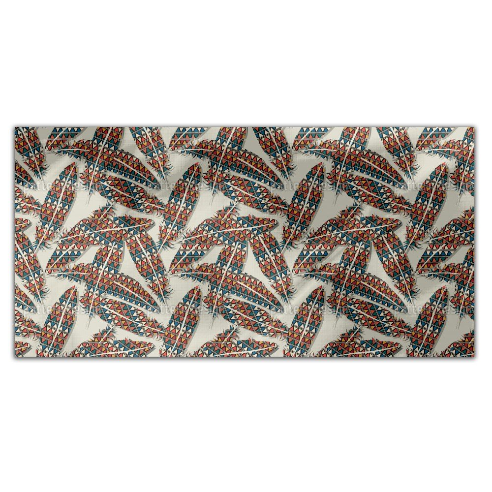 Indian Feathers Rectangle Tablecloth: Medium Dining Room Kitchen Woven Polyester Custom Print by uneekee