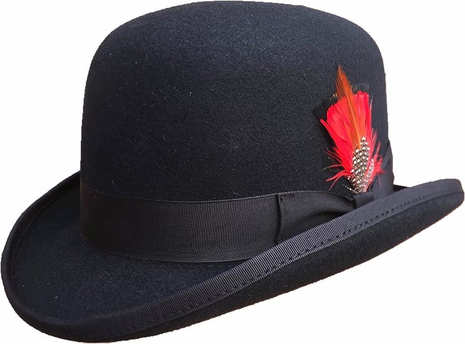 1bda9d97af4448 Hanshow Wool Men's Derby Bowler Felt Hat (Small-55cm(6 7/8)) Black ...