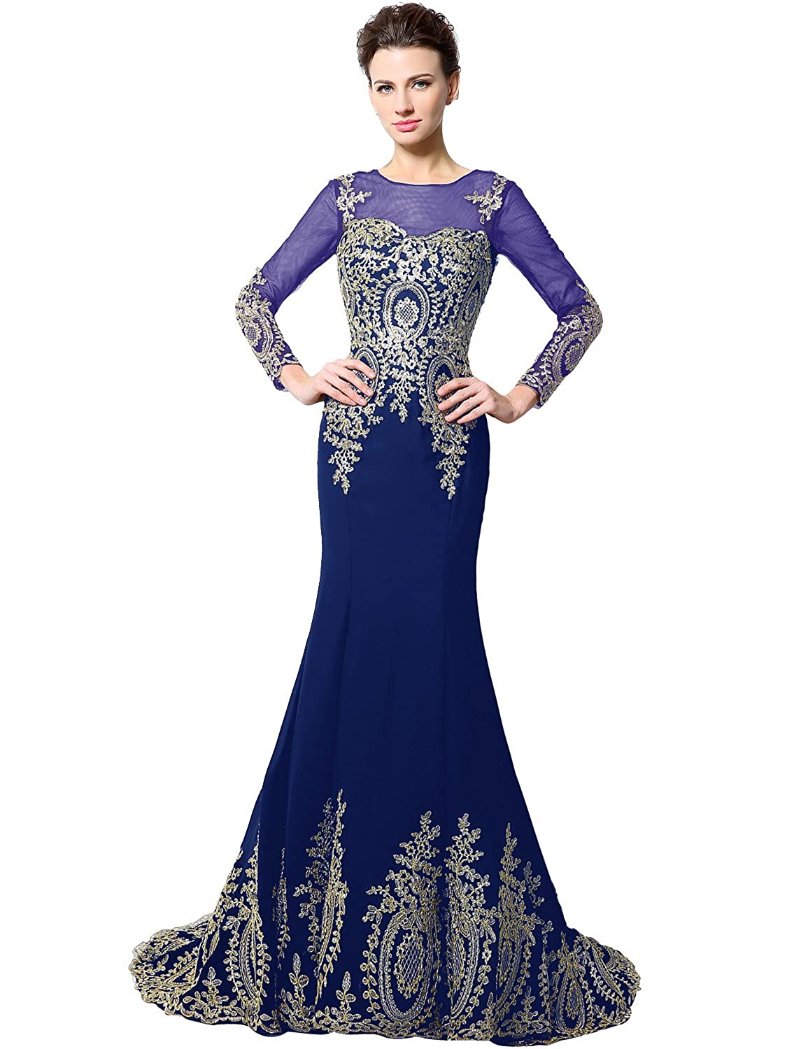 040royal bluee Sarahbridal Women's Mermaid Evening Ball Dress 2019 Formal Long Prom Gowns