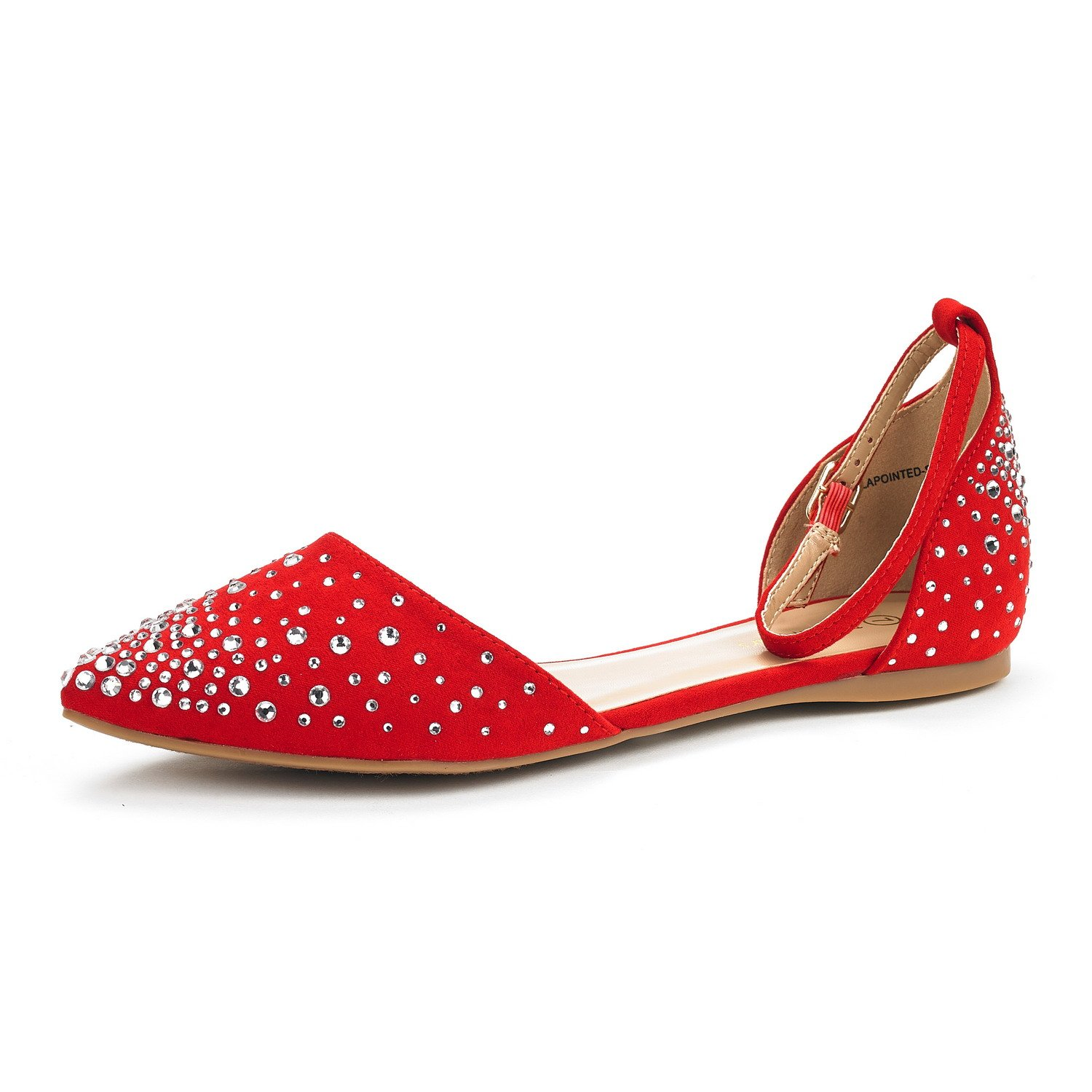 DREAM PAIRS Flapointed-Shine New Women's Casual D'Orsay Rhinestones Pointed Toe Comfort Soft Ballet Flats Shoes RED Size 7