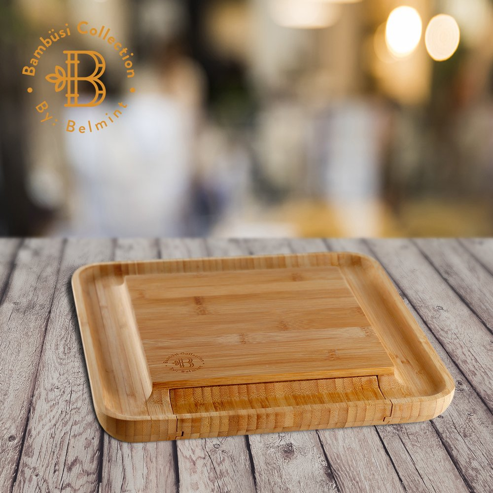Bamboo Cheese Board with Cutlery Set, Wood Charcuterie Platter and Serving Meat Board with Slide-Out Drawer with 4 Stainless Steel Knife and Server Set - Perfect Gift Idea. By Bambusi by Bambüsi (Image #4)