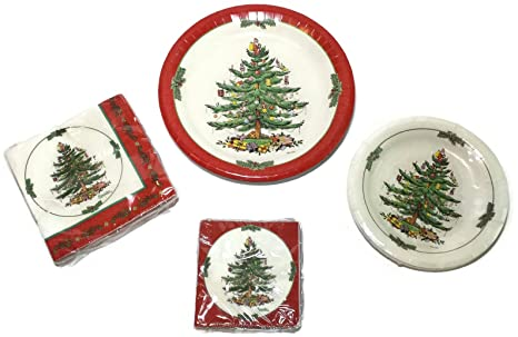 Spode Christmas Tree Paper Plates and Napkins Bundle - 8 Coated Dinner Plates (1 set  sc 1 st  Amazon.com : christmas paper plates napkins - pezcame.com