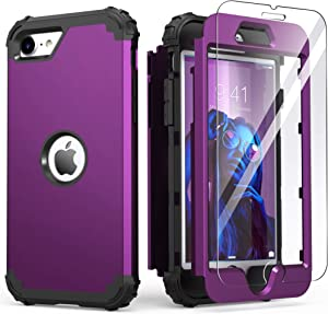 iPhone SE 2020 Case with Tempered Glass Screen Protector,IDweel Hybrid 3 in 1 Shockproof Slim Heavy Duty Hard PC Cover Soft Silicone Rugged Bumper Full Body Case for iPhone SE 2nd Gen,Navy Purple