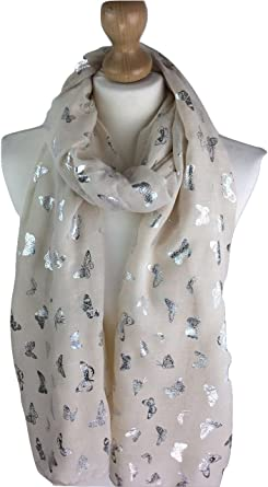 New Women/'s Scarves Ladies glitter Scarf  Metallic foil Print Dog Print Shawl