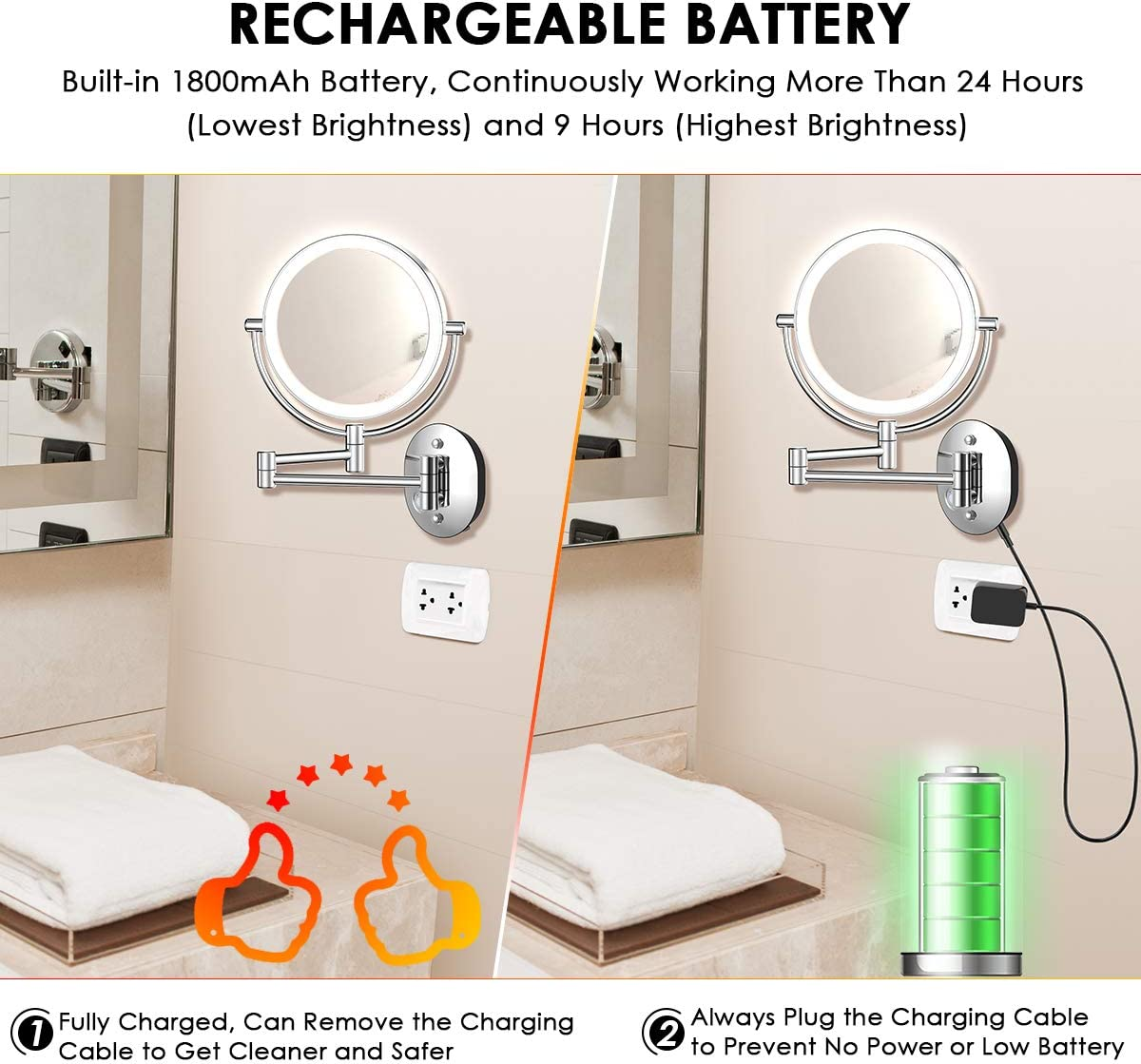 Makeup Mirror Wall Mounted, Rechargeable 1X 7X Magnifying Vanity Mirror with Lights, Dimmable Two-Sided Battery Powered 27LED Lighted Cosmetic Mirrors with Touch Switch for Bathroom Bedroom Hotel