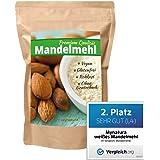 Mynatura - harina molida de almendras blancas 100 % (bajo contenido en carbohidratos, sin gluten, fino, con fibra, vegano, para batidos)
