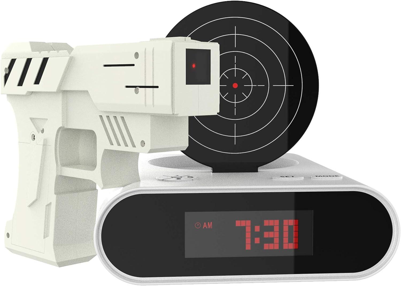 Amazon Com Trademark Games 72 Cb340 Toy Gun Alarm Clock Game 3 875x7 875x7 White Black Home Kitchen