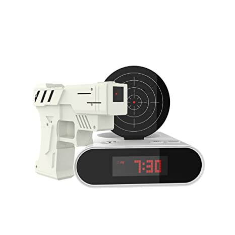 TM Games Toy Gun Alarm Clock Game-Infrared Laser Activated Snooze Target, on