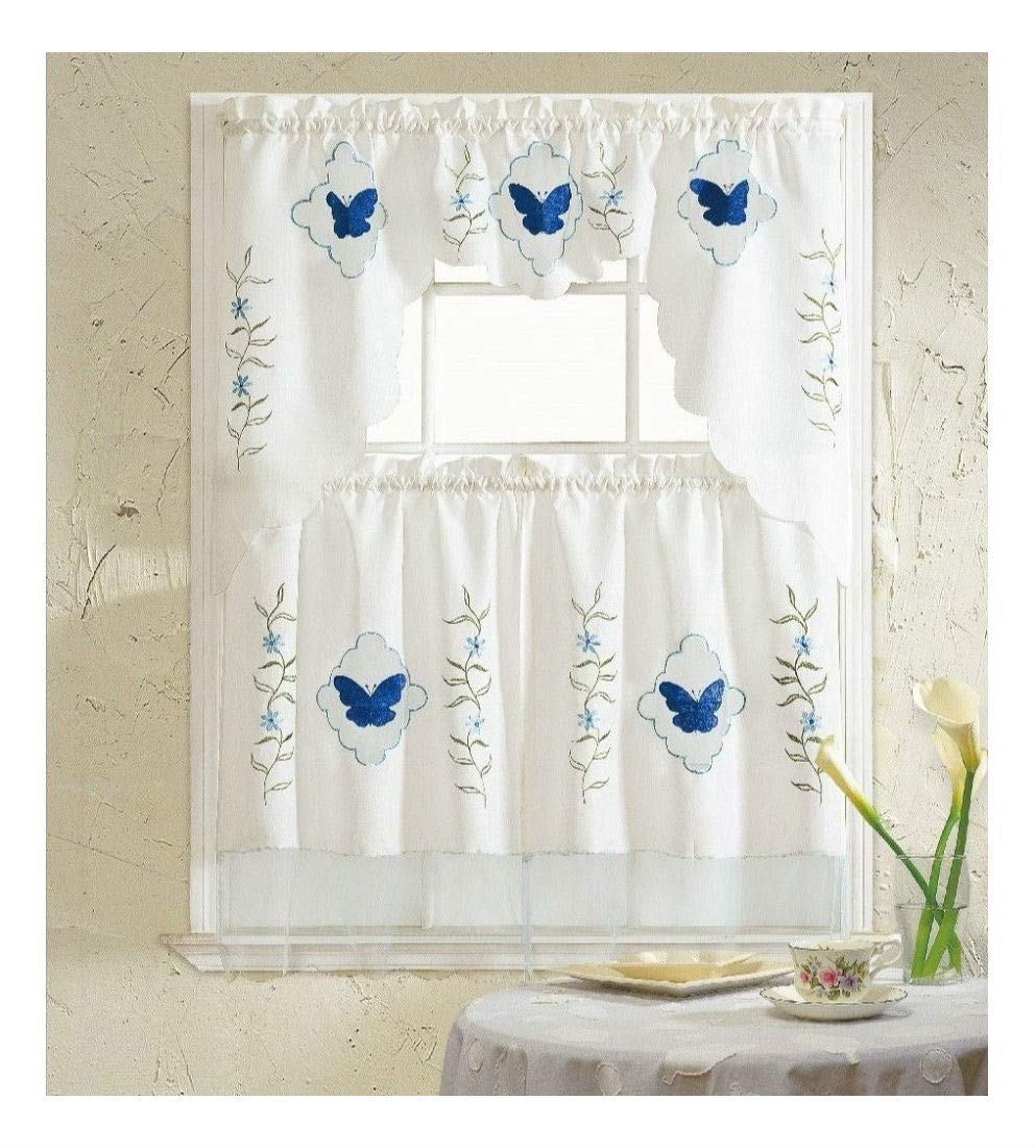 Blue Butterfly Embroidered 3-Piece Kitchen Curtain Window Treatment Set