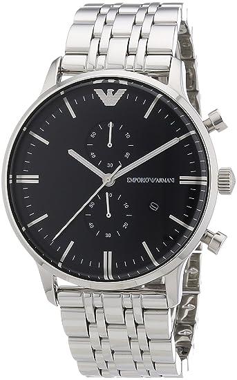 Emporio Armani AR0389 - Reloj cronógrafo de cuarzo para hombre, correa de acero inoxidable color plateado: Emporio Armani: Amazon.es: Relojes