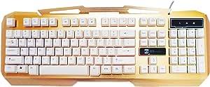 لوحة مفاتيح العاب المنيوم مع اضائة خلفية ، ذهبي ، KB 1828