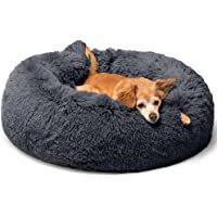 YanYoung Roung Fluffy Non-Slip Calming Donut Dog Bed in Shag Fur, Self-Warming Machine Washable Clearance Pet Bed for…