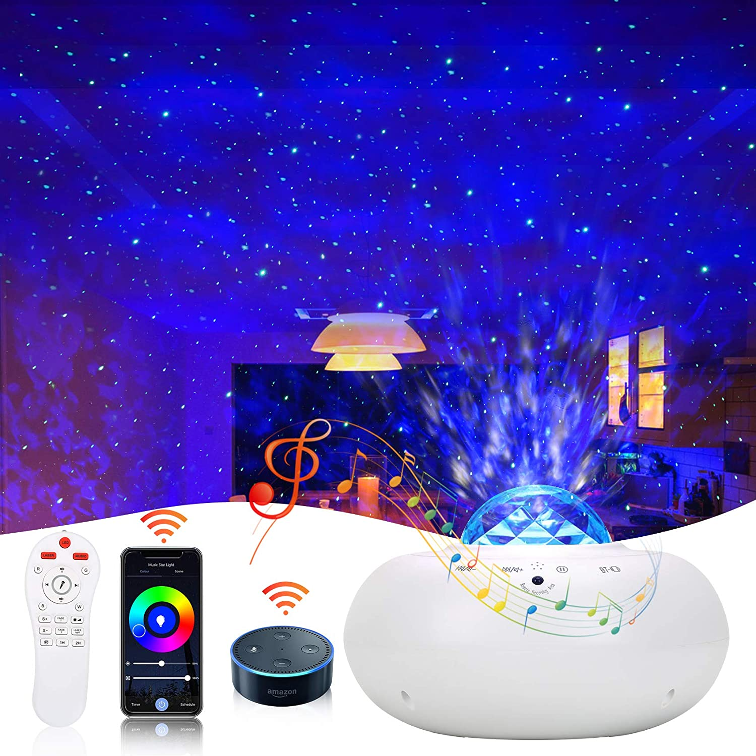 Star Projector, Syslux Smart Galaxy Projector Works with Alexa, Google Assistant, Smart App Ocean Wave Night Light Projector with LED Nebula Galaxy Remote Control Music Speaker for Bedroom Party Decor
