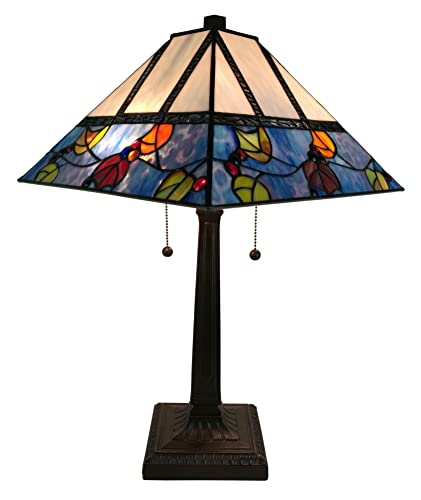 Tiffany Style Table Lamp Banker Mission 22 Tall Stained Glass Tan Blue Red Orange Green Vintage Antique Light D cor Night Stand Living Room Bedroom Handmade Gift AM300TL14 Amora Lighting