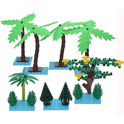 Sawaruita Plant Building Bricks Supplement, Garden Pack Trees and Flowers Botanical Accessories Block Compatible with All Major Brands Kids Games (Coconut Trees): Toys & Games