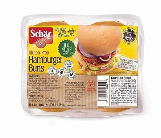 Schar Gluten Free Hamburger Buns 10.6oz 3 Pack – 12 rollos ...