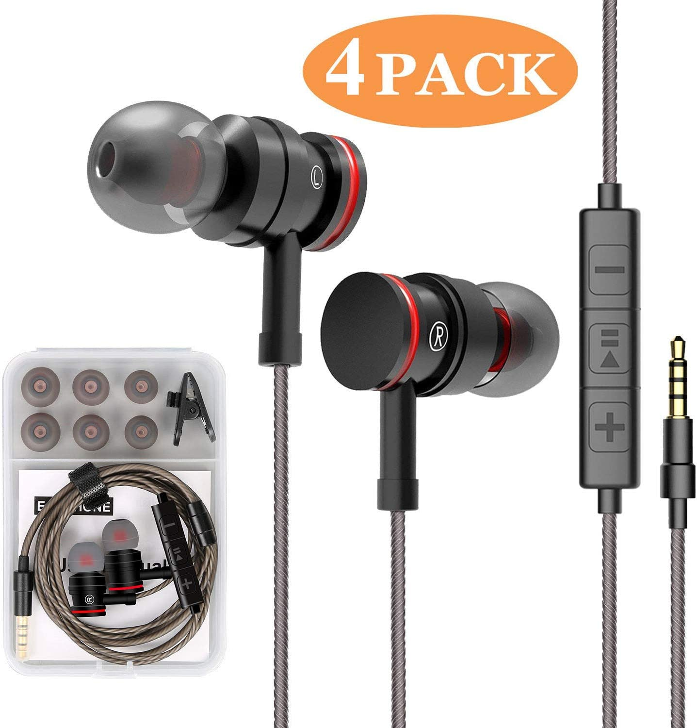 Earphones 4 Pack Bass Earbuds with Microphone Stereo in Ear Headphones with Mic and Volume Control 3.5mm Plug Compatible Multiple Audio Devices 3.9 Ft Black