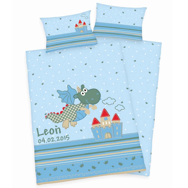 Bettwäsche mit Namen blau Drachen Motiv 100x135 cm Linon Babybettwäsche Kinderbettwäsche Wolimbo