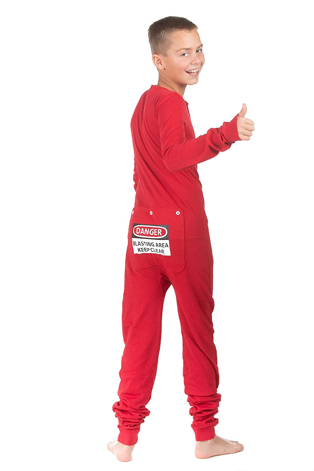 51e6e8092c Amazon.com  Red Union Suit Boys   Girls Kids Pajamas Danger Blast Area Sign  on Rear Flap