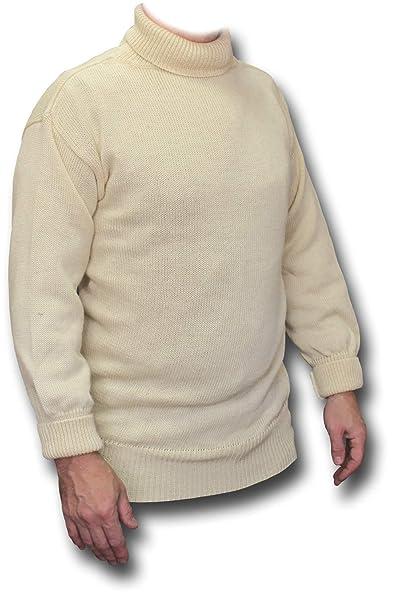 Ecru Navy Grey Submariner//Fisherman Roll Neck 100/% British Wool Sweater//Jumper