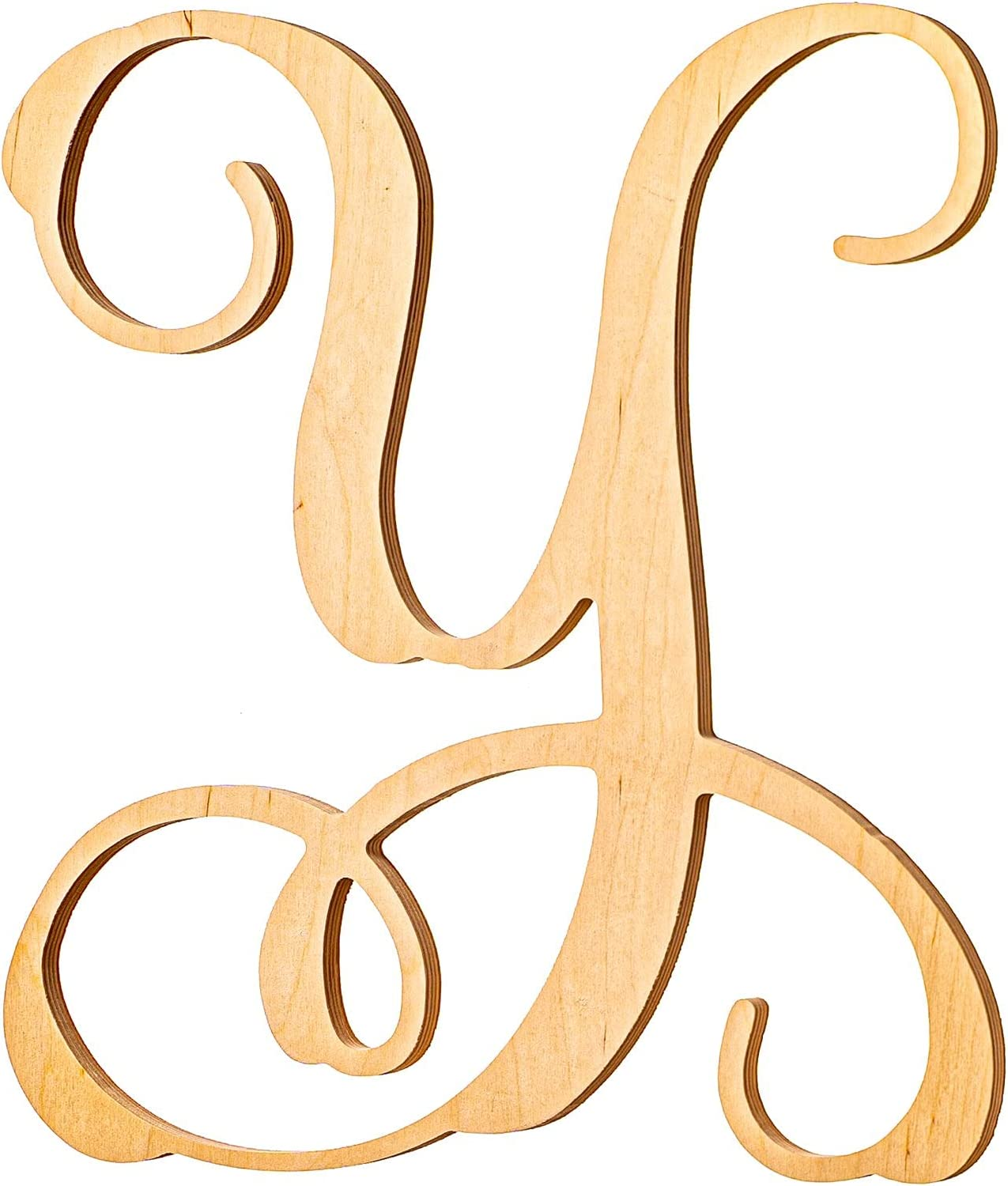 UNFINISHEDWOODCO Wooden Letter Monogram Room Décor - 13 Inches Tall - Unfinished Vine Cursive Wood Initials for Bedroom, Wall Decor Above Baby Crib, Nursery or Teen Room - Letter Y