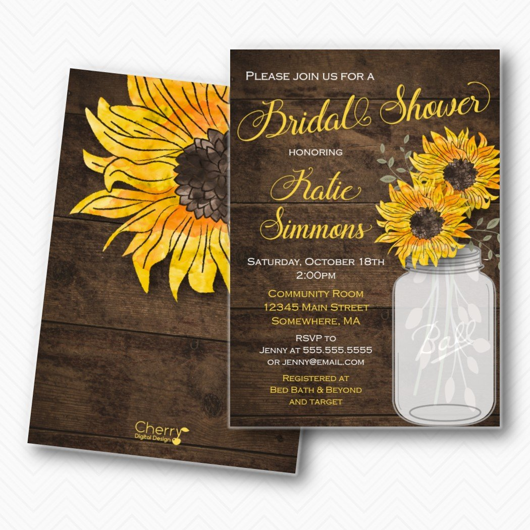 Rustic Sunflower Mason Jar Bridal Shower Invitations | Envelopes Included