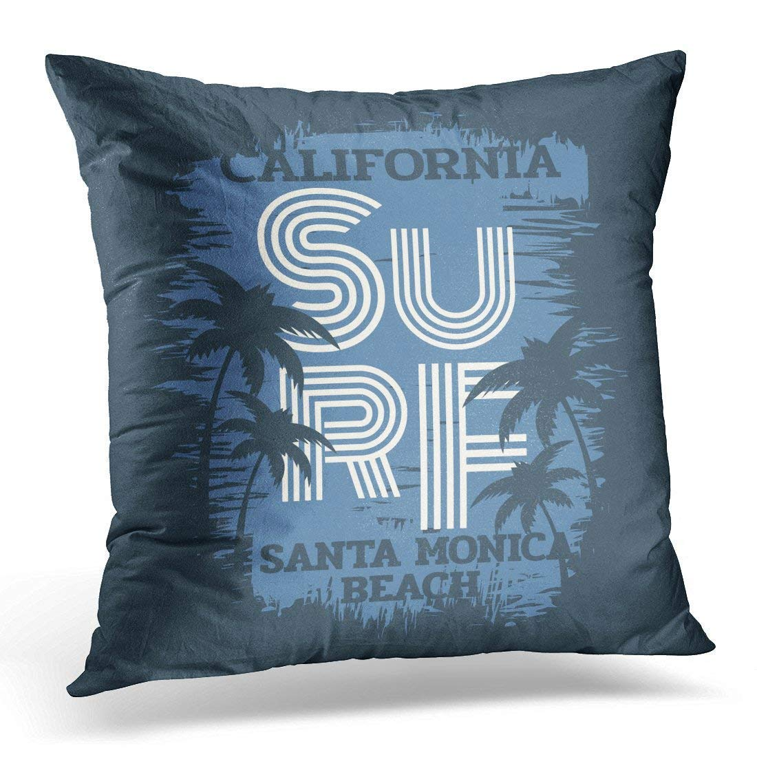 Xukmefat Navy Superior on The of Surf and Surfing in California Santa Monica Beach Grunge Graphics Sunshine Decorative Pillow Case Home Decor Square 18x18 Inches Pillowcase
