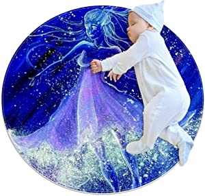 Glowing White Maxi Girl Round Area Rugs Circle Rugs Anti-Skid Soft for Kids Bedroom Baby Room Play Room Home Decoration Floot Mat Carpets and Nursery Rugs 27.6x27.6 inches