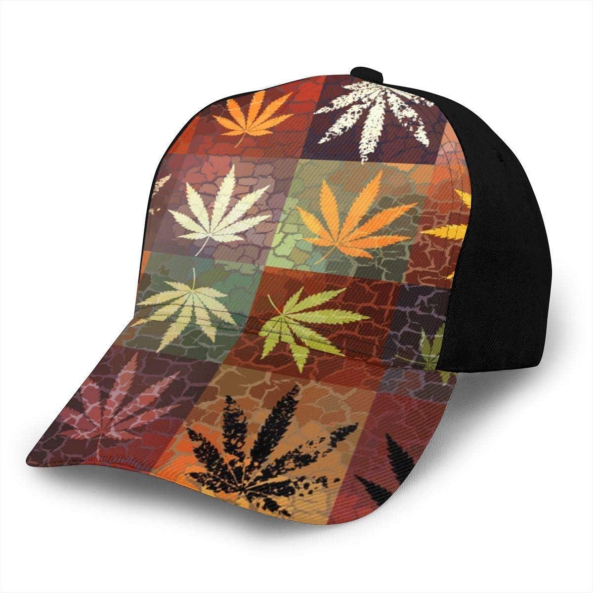 liang4268 Patrón de Hojas de Cannabis Marihuana Hojas de cáñamo de Grunge Gorras de béisbol para Adultos Sombrero de béisbol Ajustable Sombreros de Camionero Unisex