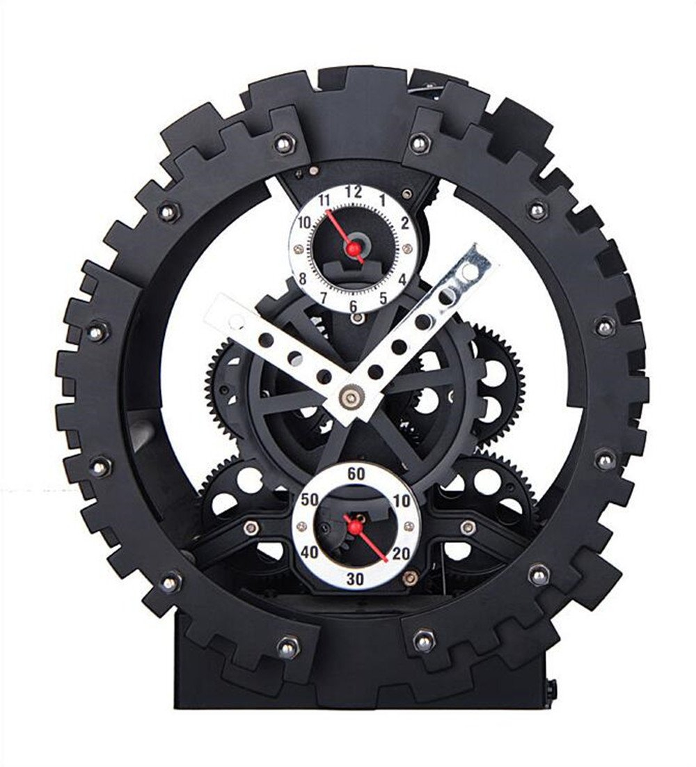 Double Gear Hollow Clock Creative Decoration Alarm Clock Mechanical Appearance Gear Simple Desk Clock