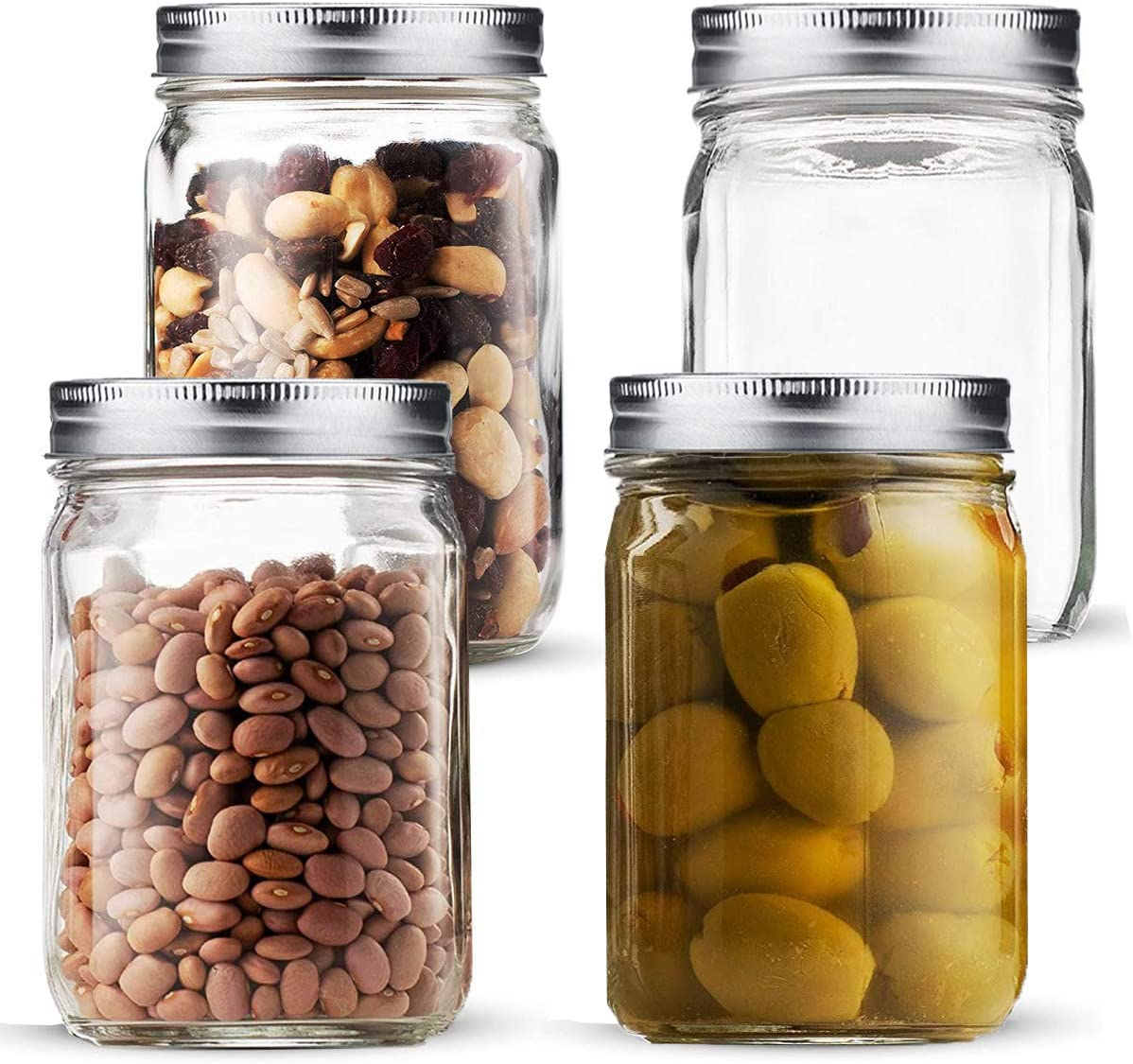32 oz Mason Jars Wide Mouth with Airtight Lids, Canning Jar Glass for Food Storage, Canning, Pickling, Fermenting Fruits and Vegetables Slices (4 Pack)