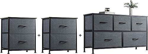 WLIVE 2 Drawer Dresser and 5 Drawer Dresser Set